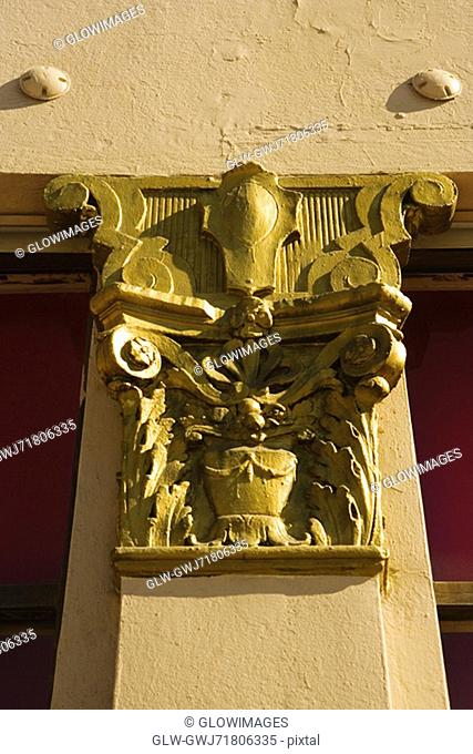 Close-up of a design on a column