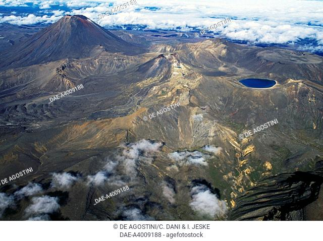 Central Plateau, Tongariro National Park (UNESCO World Heritage List, 1990), North Island, New Zealand. Aerial view