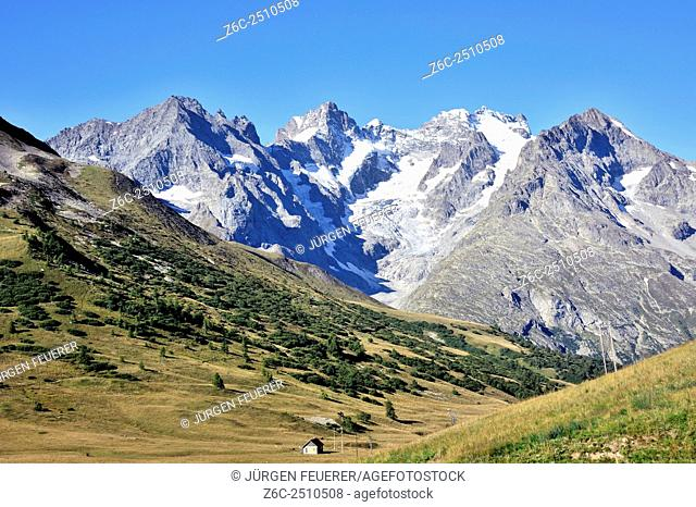 View to the glaciers at pass col du Lautaret, crossing of the Route des Grandes Alpes, Hautes-Alpes, French Alps, France