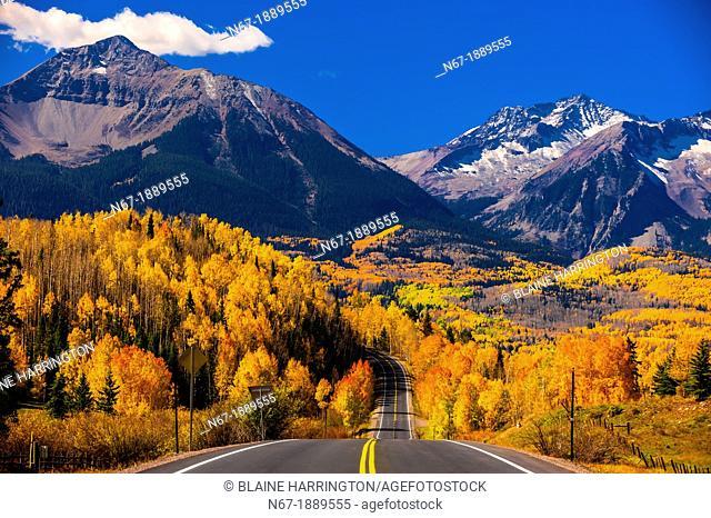 Fall color, Colorado Highway 145 in the San Juan Mountains, near Telluride, Colorado USA