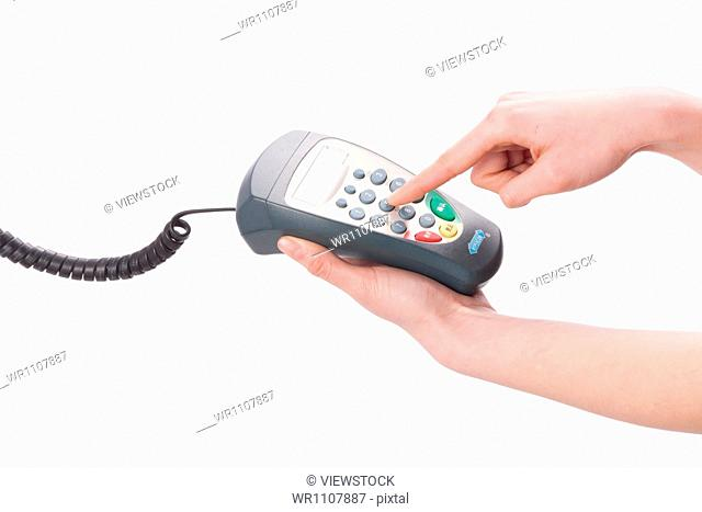 The POS in woman's hands