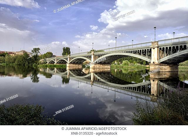 Enrique Esteban Bridge at Night, Salamanca City, Spain, Europe