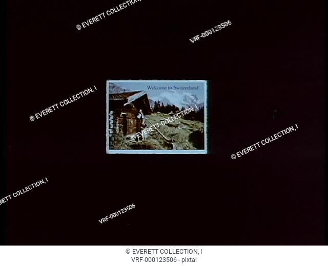 Zoom in Welcome to Switzerland postcard