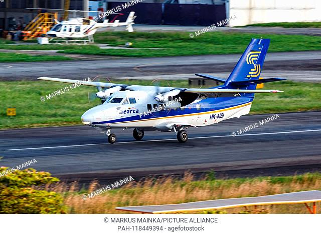 Medellin, Colombia – January 25, 2019: Searca Let L-410 airplane at Medellin Enrique Olaya Herrera airport (EOH) in Colombia. | usage worldwide