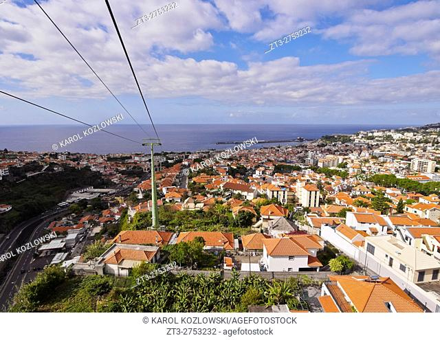 Portugal, Madeira, Funchal, View of the Funchal-Monte Cable Car.