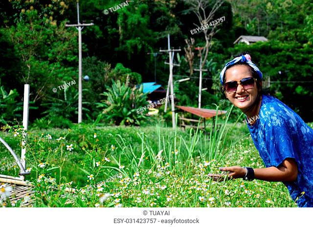 Thai woman portrait with spanish needle flower field at Baan Natong village in Phare, Thailand