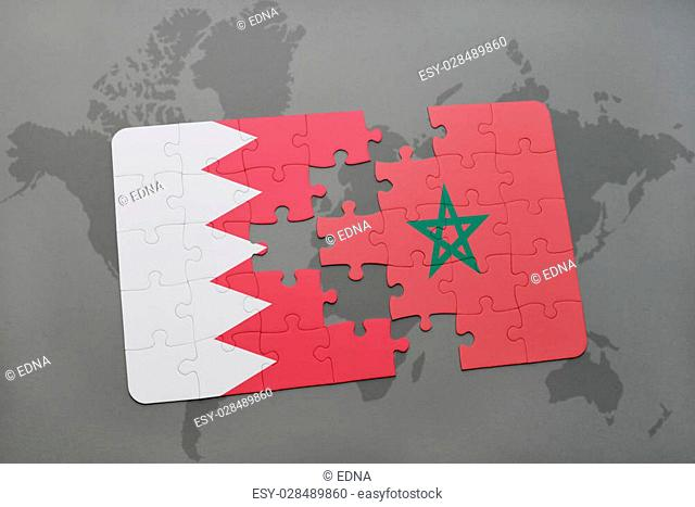 puzzle with the national flag of bahrain and morocco on a world map background. 3D illustration