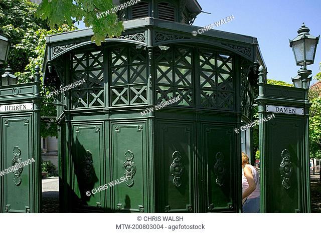Old fashioned vintage public toilet restroom