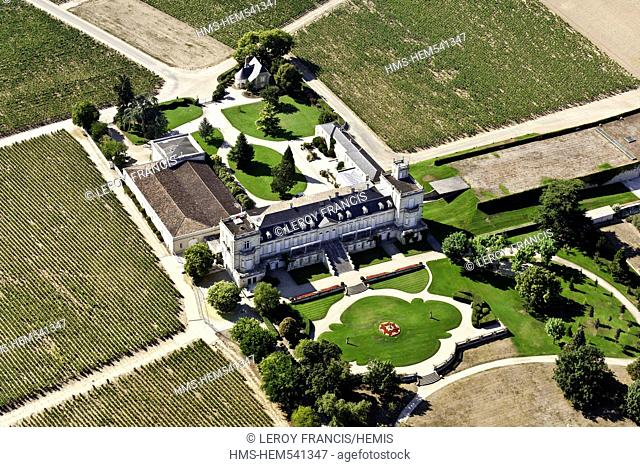 France, Gironde, St Julien Beychevelle Beychevelle castle winery aerial view