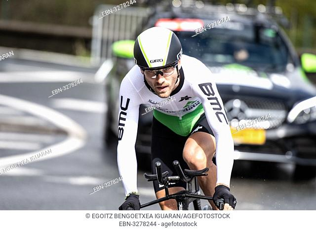 Danilo Wyss at Zumarraga, at the first stage of Itzulia, Basque Country Tour. Cycling Time Trial race