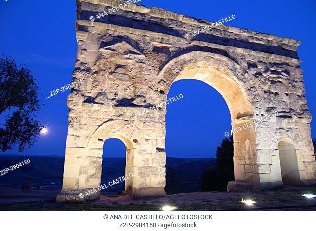 Roman Arch by dusk in Medinaceli Soria Castile Leon Spain on July 5, 2017