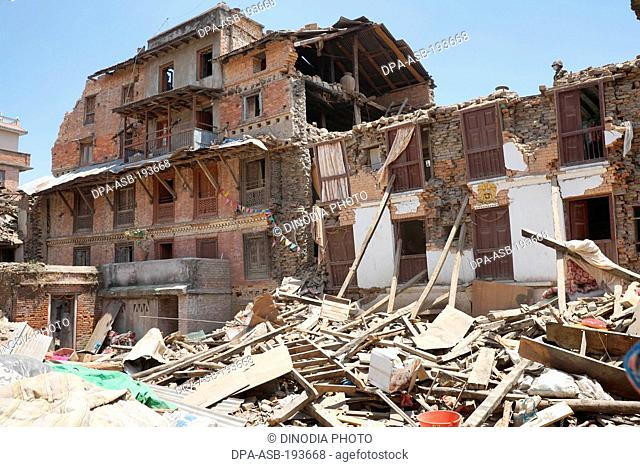 Residential building collapsed, nepal, asia