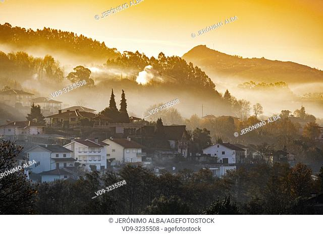 Panoramic view at sunrise, Village Arcos de Valdevez. Viana do Castelo, Alto Minho region. Northern Portugal, Europe