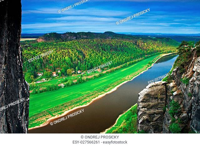 Elbe river, view from Bastei bridge in Saxon Switzerland, at sun