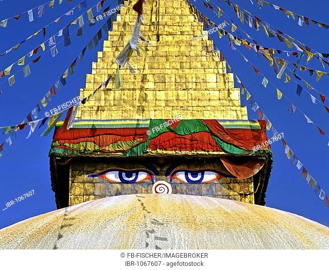 Boudhanath stupa, eyes, Buddhism, Kathmandu, Nepal, South Asia