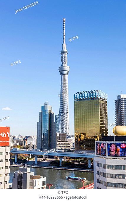 Japan, Honshu, Tokyo, Asakusa, Sumida River and Sky Tree