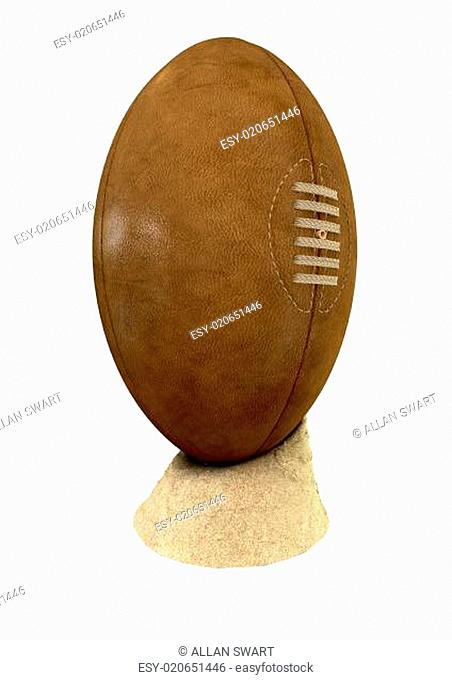 Old Classic Retro Rugby Ball On Sand