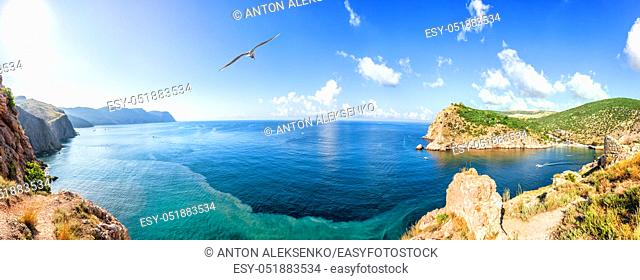 Sea panorama of the coast of Balaklava Bay, Crimea