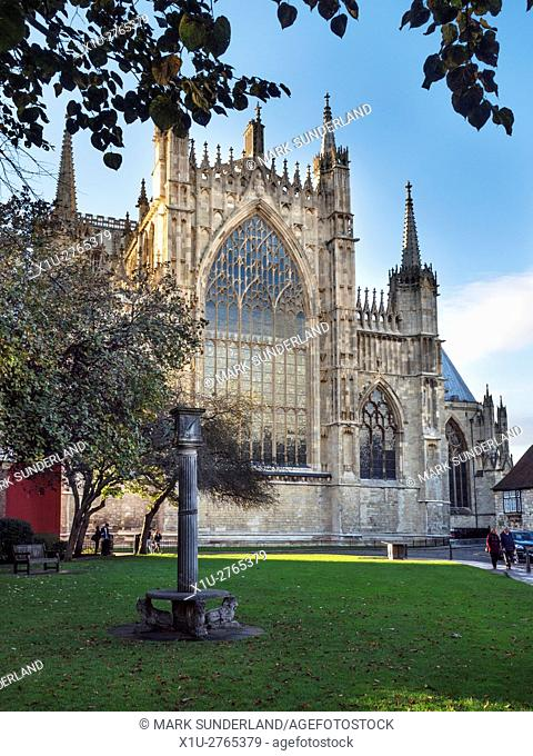 Restored East Front of York Minster from the Sundial on College Green Yorkshire England