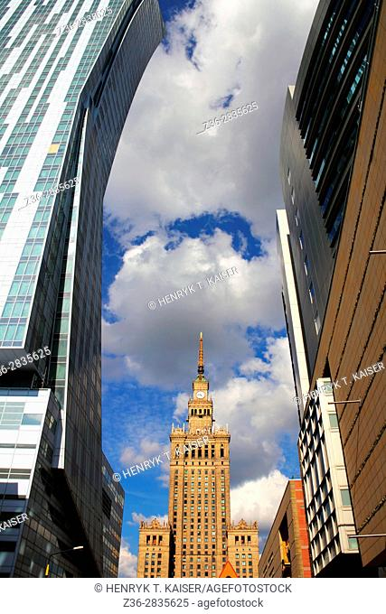 Old and modern, The Palace of Culture and Science, Warsaw, Poland