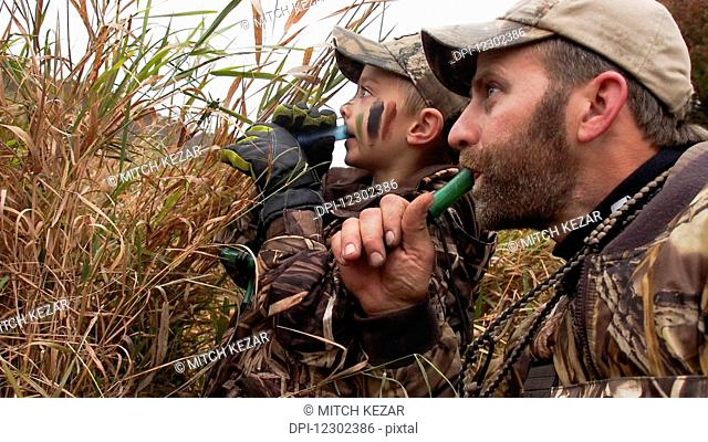 Family Duck Hunt And Father Teaches Son To Call Ducks
