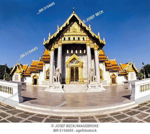 Wat Benchamabopit, temple made of Carrara marble, ubosot, temple in the Dusit district, fisheye-shot