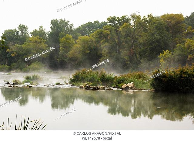 View of a misty river in Lodosa, Spain