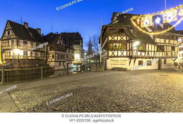 Petit France by night, Strasbourg district, Alsatian, Grand Est, Bas-Rhin, France