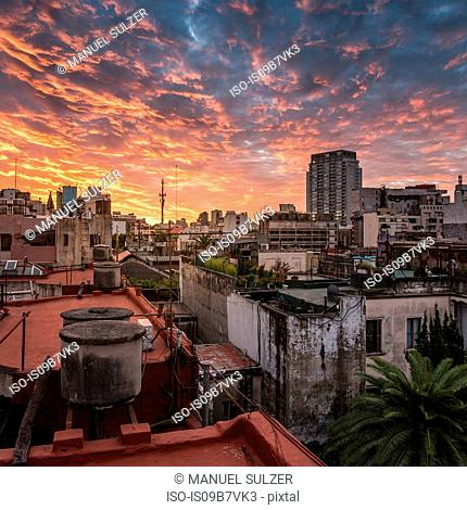 Rooftop cityscape and dramatic sunset sky, San Telmo, Buenos Aires, Argentina