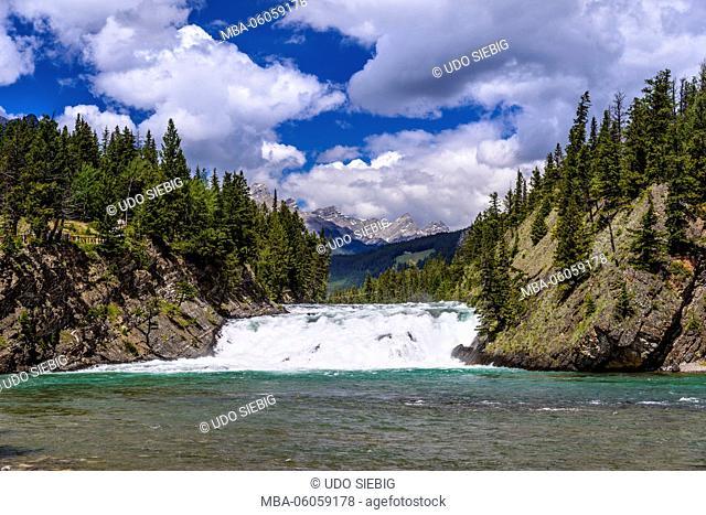 Canada, Alberta, Banff National Park, Banff, Bow River Valley, Bow Falls