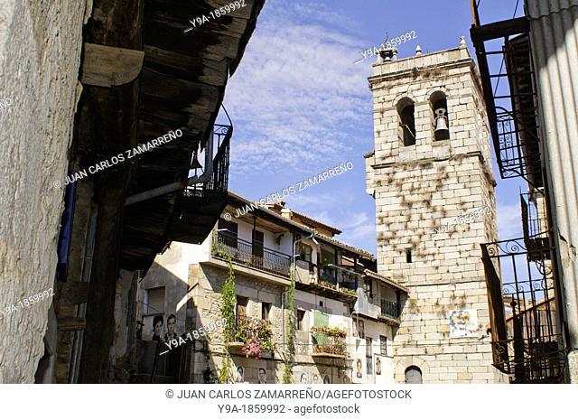 Church and square of Mogarraz, Conjunto Historico, with art exhibition, Las Batuecas & Sierra de Francia Natural Park, Salamanca, Castilla y Leon, Spain