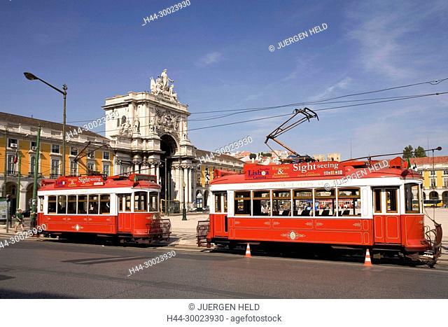Portugal, Lisbon, Portugal, Lisbon,, Praca de Commercio, Tram, Electrico
