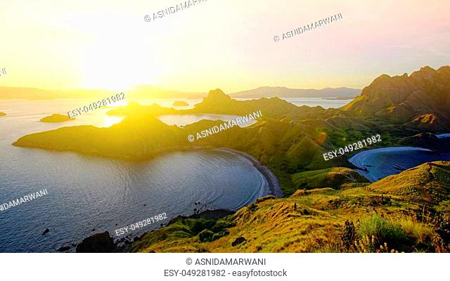 Panoramic view of majestic Padar Island during magnificent sunset