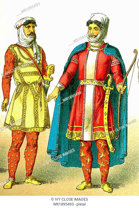 The figures illustrated here represent ancient Persians, from left to right: warrior of rank and king dressed for war. Ancient Persia included much of the land...