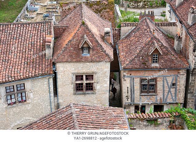 France, Quercy, Lot (46), Saint-Cirq-Lapopie village, old medival houses