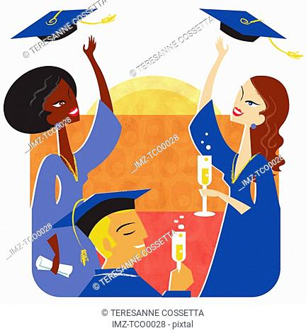 An illustration of a group of young adults celebrating their graduation