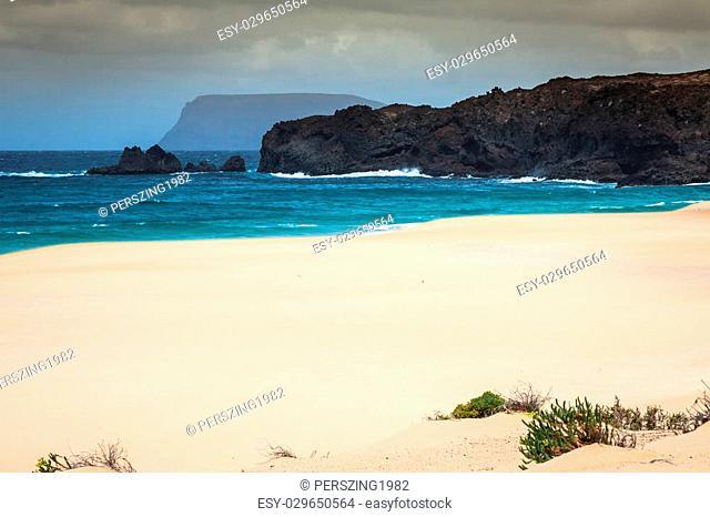 Beautiful beach las conchas,on La Graciosa, a small island near Lanzarote, Canary Islands
