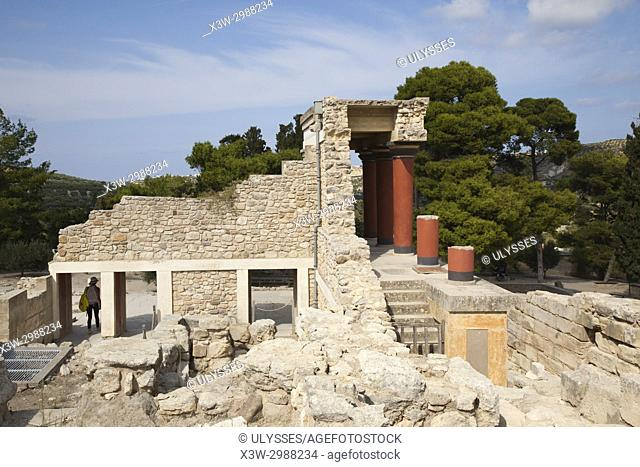 View from behind of the North pillar hall, Knossos palace archaeological site, Crete island, Greece, Europe