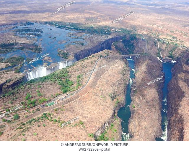 Zimbabwe, Matabeleland North, Hwange, Victoria Falls, helicopter tour, view from the helicopter