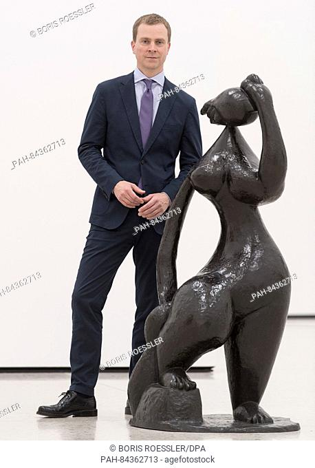 Philipp Demandt, the new director of the Staedel museum, standing next to the sculpture 'La grande baigneuse' by French sculptor Henri Laurens (1885-1954) at...