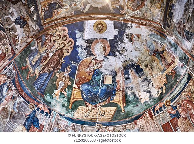 Pictures & images of the interior frescoes of Christ Pantocrator in the Apse of Ubisa St. George Georgian Orthodox medieval monastery, Georgia (country)