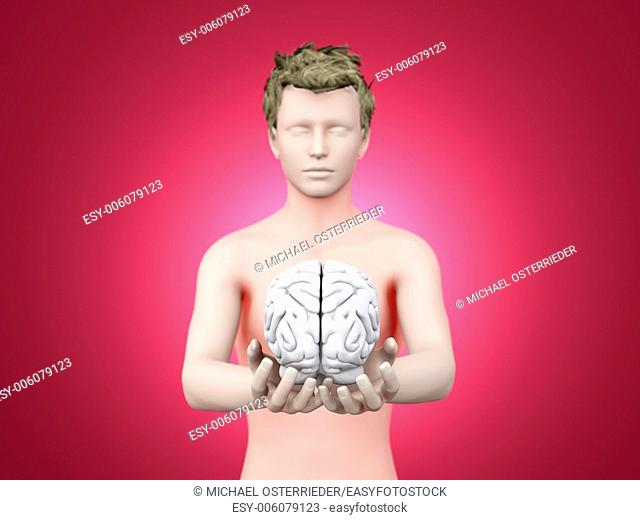 Holding a brain. 3D rendered illustration
