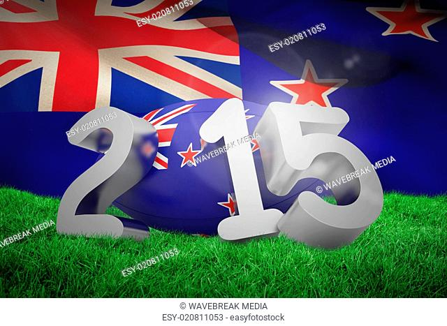 Composite image of new zealand rugby 2015 message