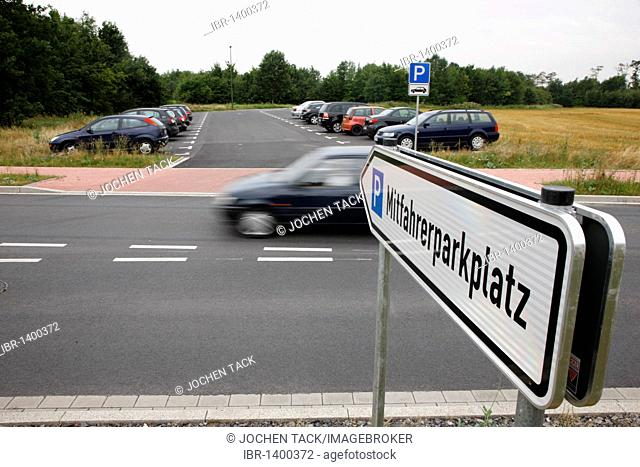 Sign Mitfahrerparkplatz, tramper parking lot at the A2 motorway, car pooling, near Boenen, North Rhine-Westphalia, Germany, Europe