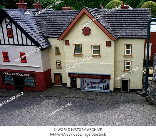 Village shops at Bekonscot in Beaconsfield, Buckinghamshire, England, the oldest original model village in the world. It portrays aspects of England mostly...