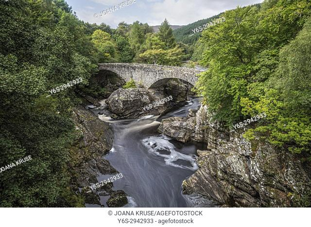 Invermoriston, Thomas Telford Bridge, Moriston Falls, Highlands, Scotland, United Kingdom