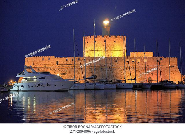 Greece, Dodecanese, Rhodes, Mandraki Harbour, Tower of St Nicholas