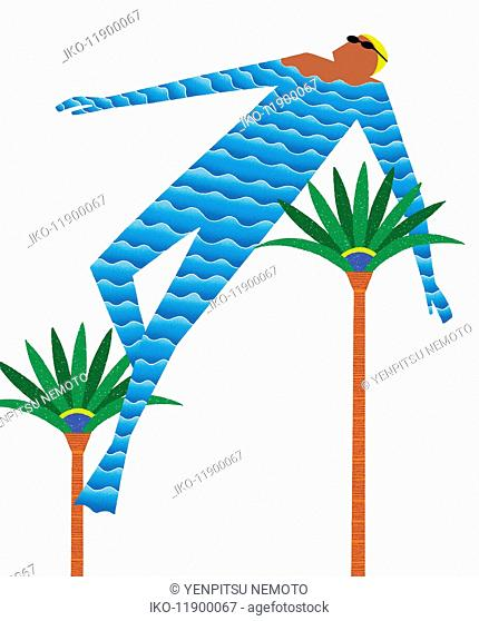 Water wave pattern covering floating man wearing swimming cap and goggles