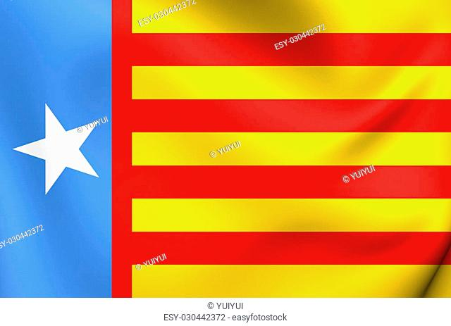 Flag of the Valencian Nationalism. Close Up