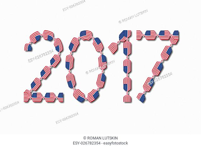 New Year 2017 made from USA flags in form of candies with shadows on white background